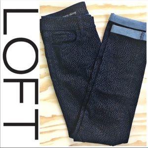 LOFT Curvy Skinny Jeans Blue & Gold Print Size 25